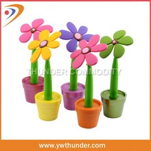 Novelty Flower Design Rubber Pen With Vase,Flower Ballpoint Pen
