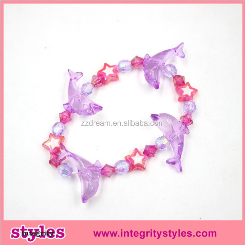 Multi color elastic round smile dolphin and bead bracelets