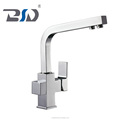 Spuare design modern sink mixer double handle drinking water kitchen faucet hot-selling brass 3-way kitchen faucet