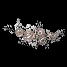 Silver Rum Pink Pearl & Rhinestone Comb with Matte Satin Flowers Bridal Hair Comb
