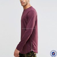 Blank curved hem longline cotton men t-shirt side zip mens tight fit long sleeve t shirts