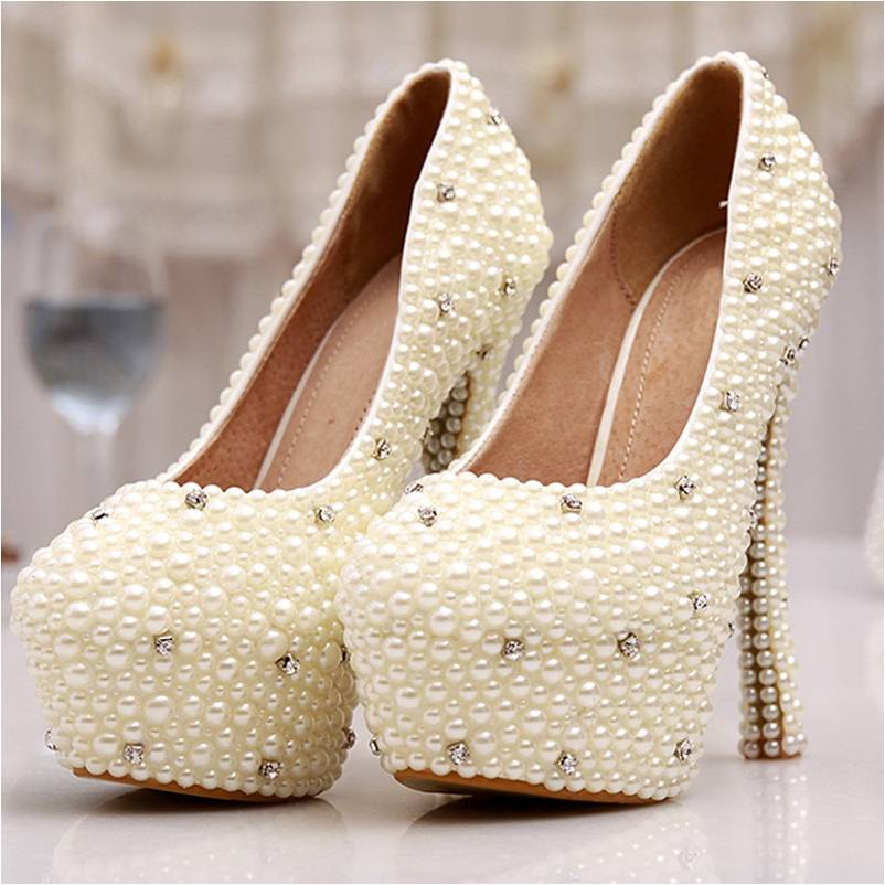 BS004 Women Wedding Shoes Bridal Spring Single High Heels Ivory Pearl Rhinestone Party Prom Shoes Women Pumps Mother of Bride