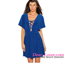 Top design v neck cap sleeves skater dress pictures semi formal dresses