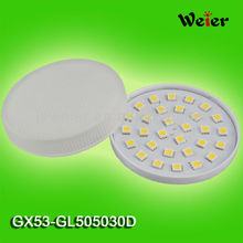 GX53 Lamp 5050 30 SMD 230V AC Glass Cover CE RoHS