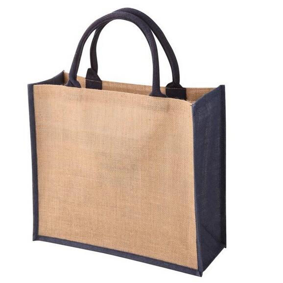 Wholesale cheap ladies fashion large folding plain handmade jute bag