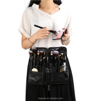 Leather Cosmetic Bag Makeup Artist Organizer Brush Bag With Holder Belt CT837