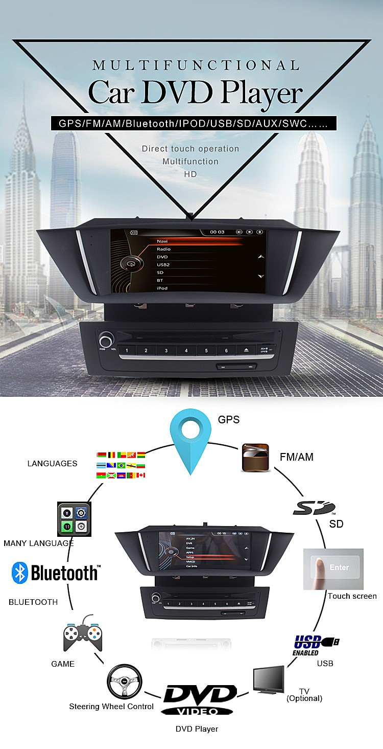 Car dvd gps navigation for b m w X1 with bluetooth car multimedia system