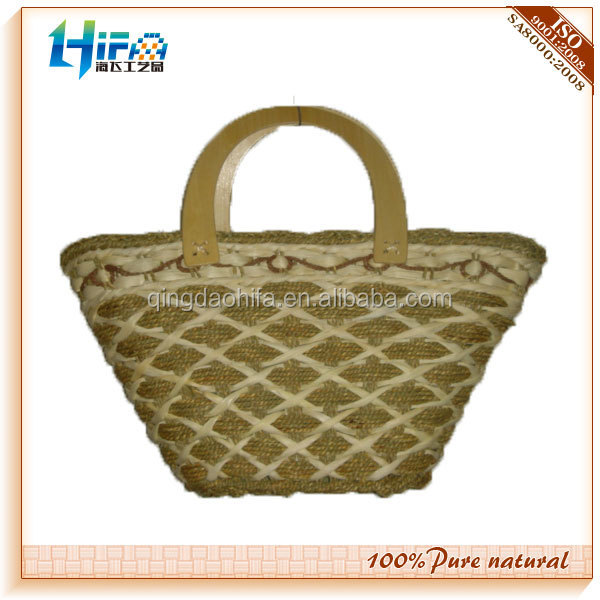 ECO-friendly Best selling straw bags fashion enviromental Women Tote Straw Bags , sea grass Straw handmade Bags