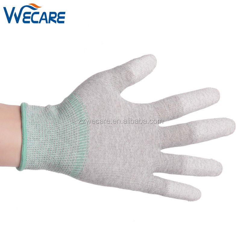 Antistatic Cleanroom PU Top Fit Five Finger Knitted Gloves ESD Work Gloves