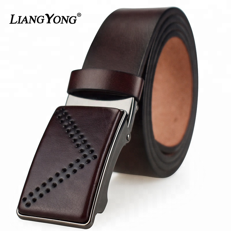 Men Automatic Buckle Genuine Leather <strong>Belt</strong> Wholesale Custom Fashion Waist Ratchet Luxury Brand High Quality <strong>Belt</strong> For Men