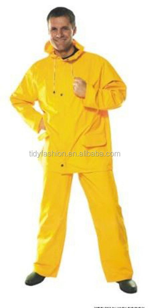 Plastic Adult Cover All Yellow Waterproof Raincoat With Pants