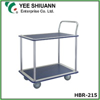 Yee Shiuann High Quality Double Tier Hand Push Trolley Truck with 4 Wheel