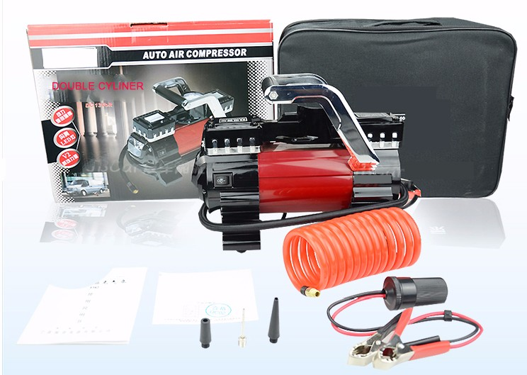 NEW Potable double cylinder 12v air compressor car tyre inflator with Light