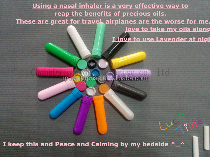 Blank Nasal Inhaler Sticks /4 parts to fill essential oils-many colors for your choice