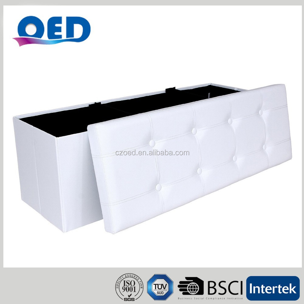 OED PVC Leather Foldable Storage Ottoman Sitting Box Stool Bench 110*38*38 cm F492