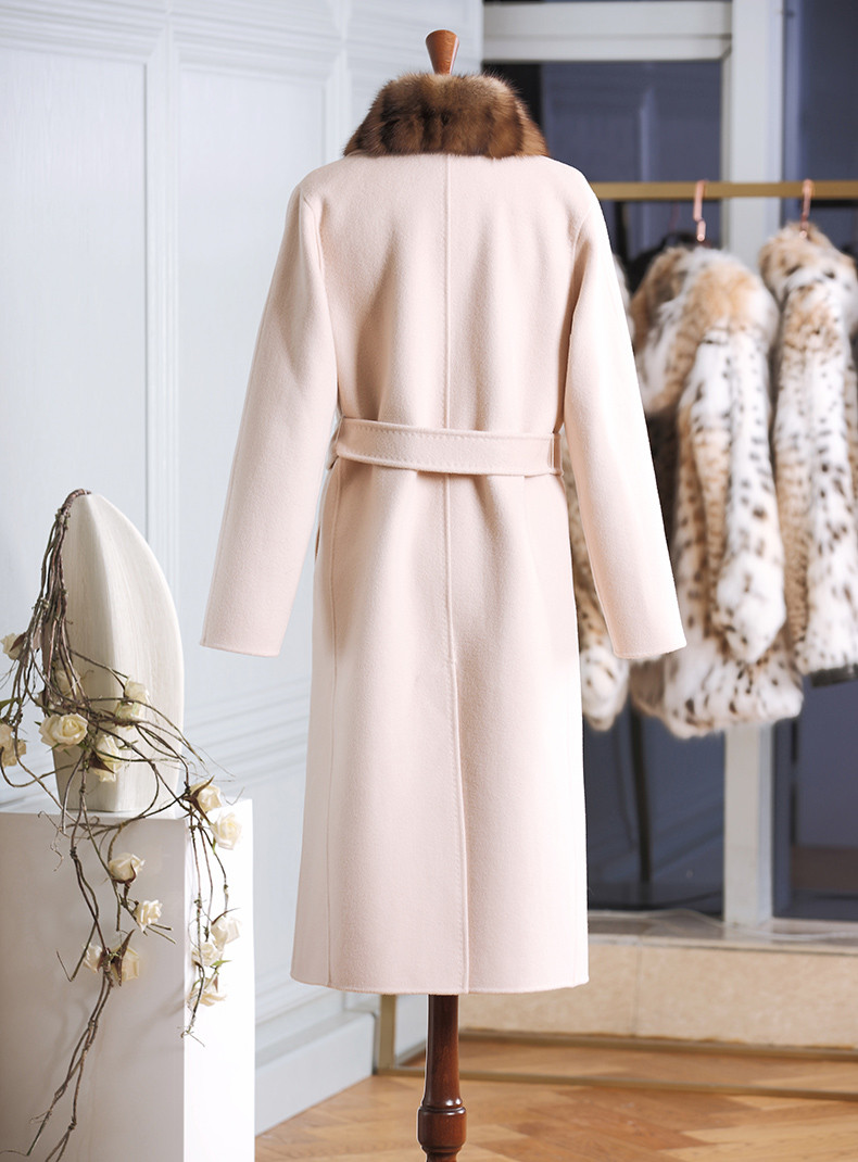Trench Long White Wool Cashmere Coat