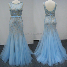 Latest Net Dress Sheer Lace Hand Work Heavy Beaded U Back Designs Sleeveless Mermaid Prom Dress JS90019