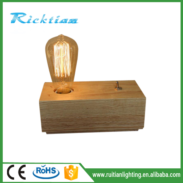 vintage style ancient wooden table lamp Edison bulb reading lamps for interior design