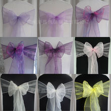2014 New cheap wedding purple organza chair sashes