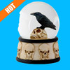 Resin Raven on Skull Water Snow Globe Skull Theme