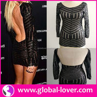 Unique design black long sleeve open back sexy pictur women without dress