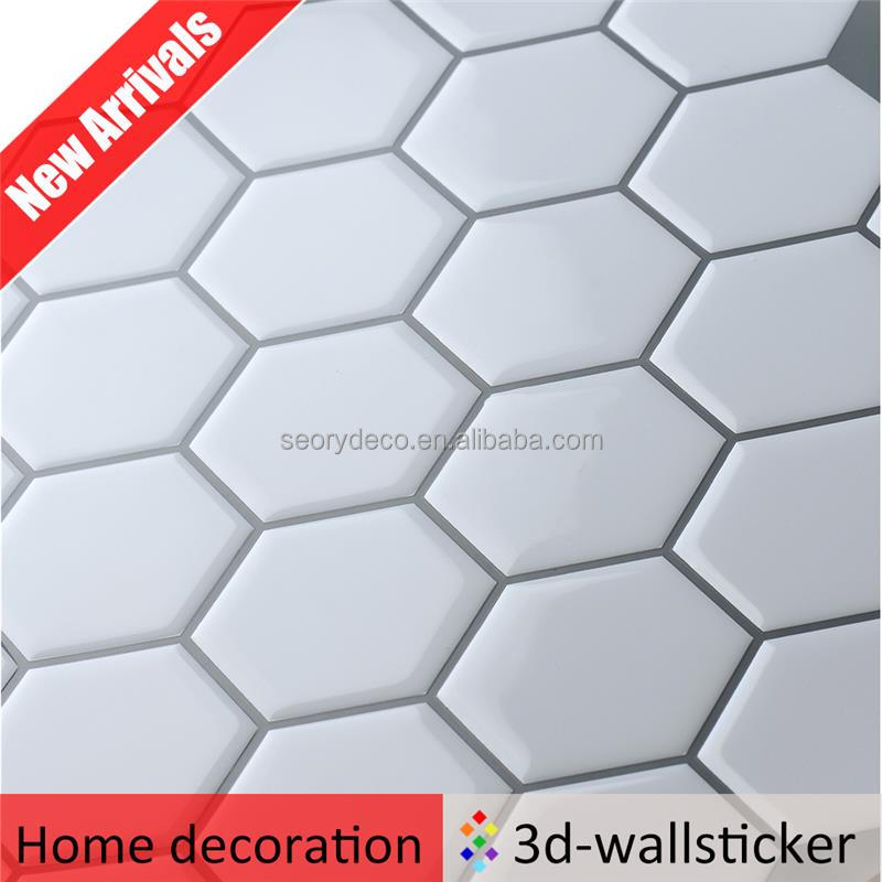 Various design peel and stick wall tiles decals sticker for modern decor in subway white