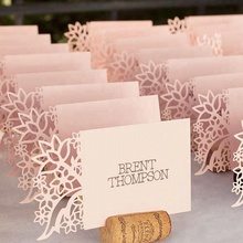Personalized Folded Elegant Pink Laser Cut Table Name Place Cards