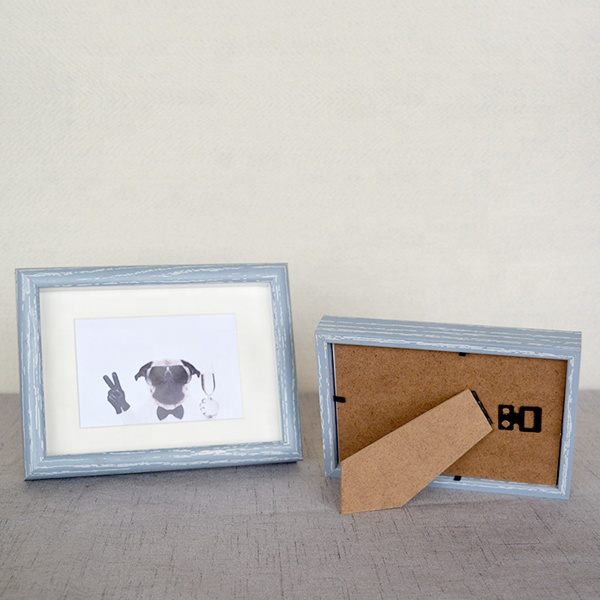 Wholesale home decoration picture frame European style rectangle sky blue wood <strong>material</strong> photo frame