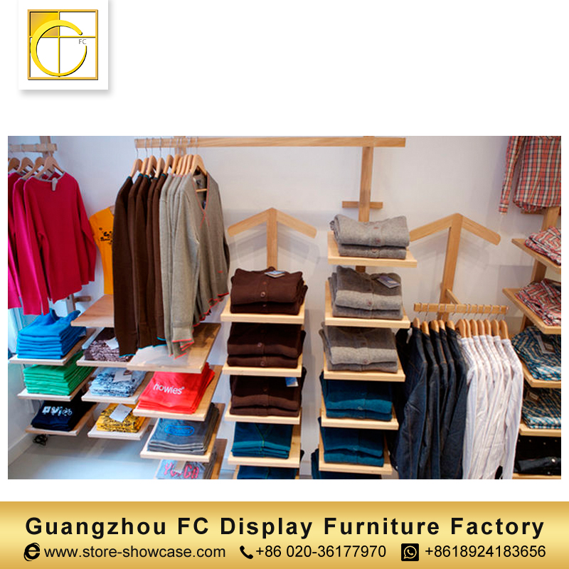 attractive simple style modern clothing store furniture t-shirt display rack garment shop interior design