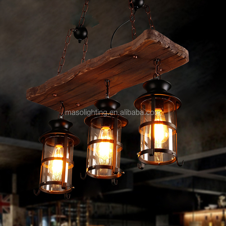 American Wooden pendant lamp Farmhouse Vintage Industrial Cage Pendant lamp Bar counter Dining Room Glass Iron pendant lamp