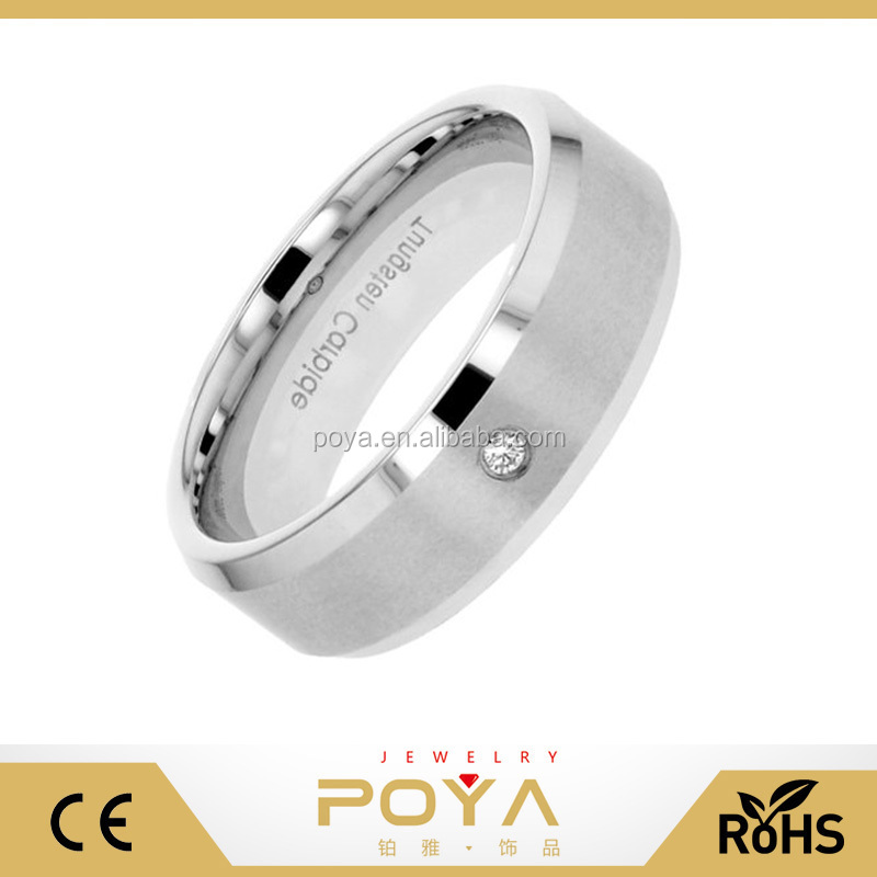 POYA Jewelry 8mm Tungsten Carbide Satin Top Band 2mm Natural Round Diamond 0.03 Carat SI1-SI2 Men's Wedding Ring