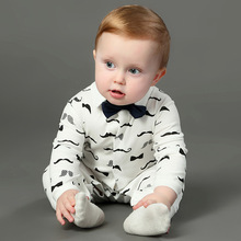 3-12M Mustache Printing Wholesale Baby Long Sleeve Cotton Sleepsuit Romper