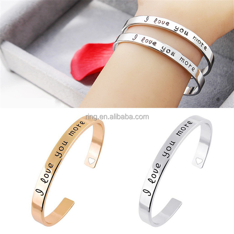 "Fashion Carving Letter ""I love you more"" Heart Hollow Simple Creative Lovers Bangles Armreif bijoux pulseras Opening Bracelet Je"
