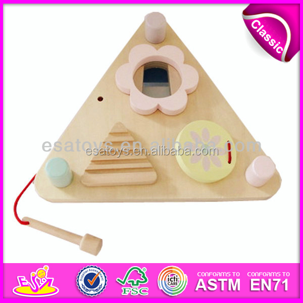 2016 wholesale cheap kid wooden hang drum,high quality wooden toy drum,most popular wooden drum W07A033