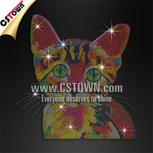 Shining hotfix rhinestone transfer colorful cat bling iron on motifs 2016 new designs