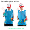 Pokemon Ash Ketchum Blue Jacket Mens Shirt Full Suit Outfit with Cap Gloves Adult Costume Cosplay Fancy Dress