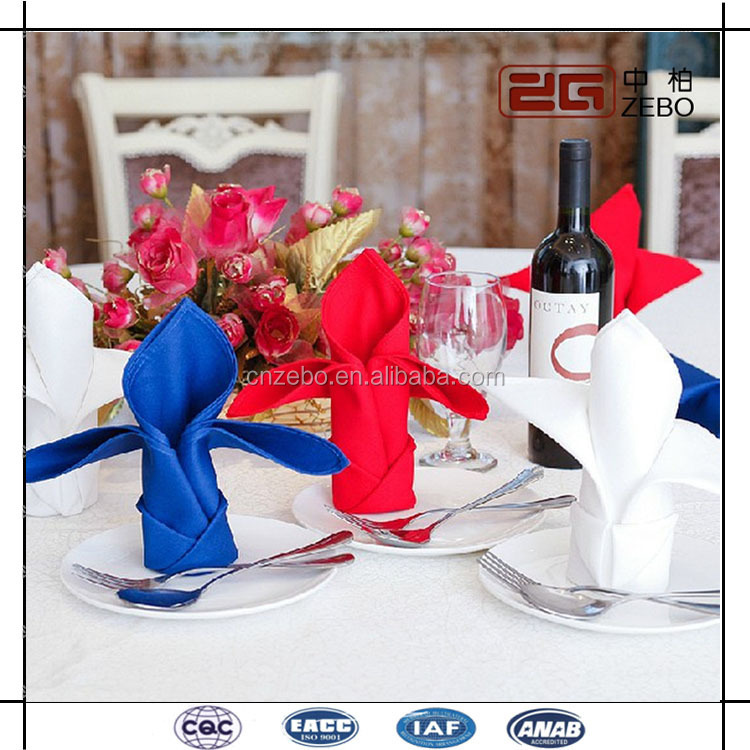 100% Polyester 50*50cm Plain Fabric Customized Table Linen Napkins