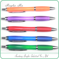 2016 mix colors small MOQ Pushed-action Promotional Plastic Ball Pen With Rubber