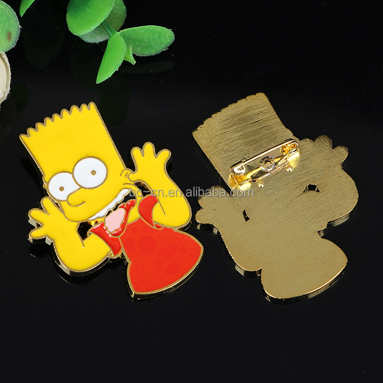 Custom shaped gold metal lapel pin with super quality and nice service for custom design