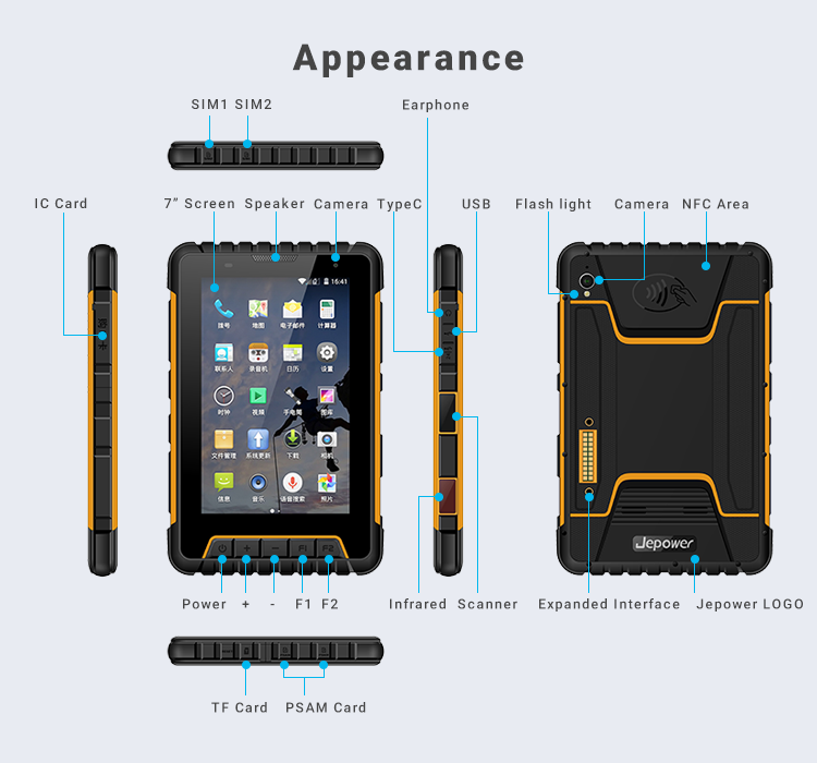 Android 1d 2d nfc data collecting ip67 tablet industrial pad