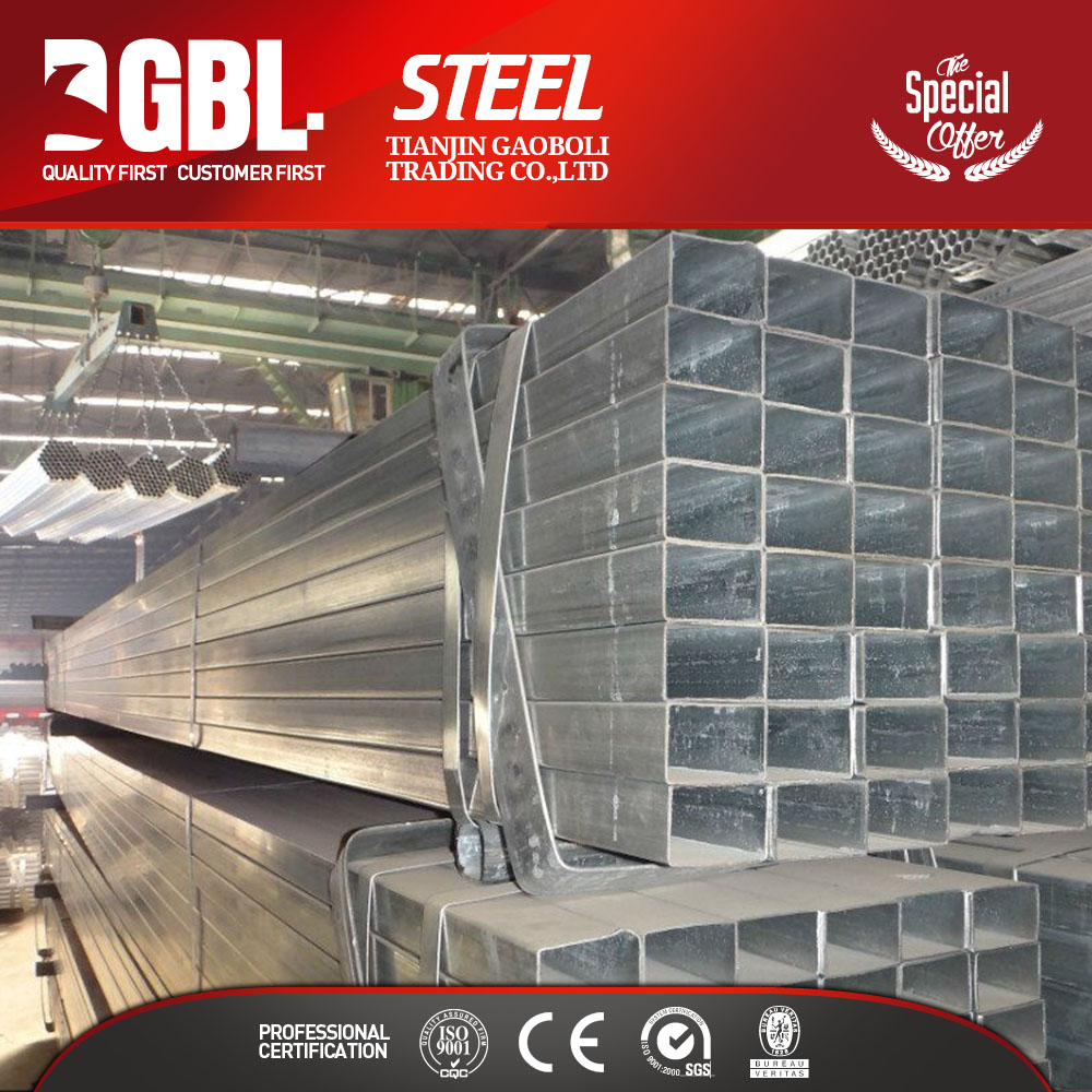 low price building materials hollow rectangular weld galvanized steel pipe for Industrial greenhouse/ Agricultural greenhouse/Mu