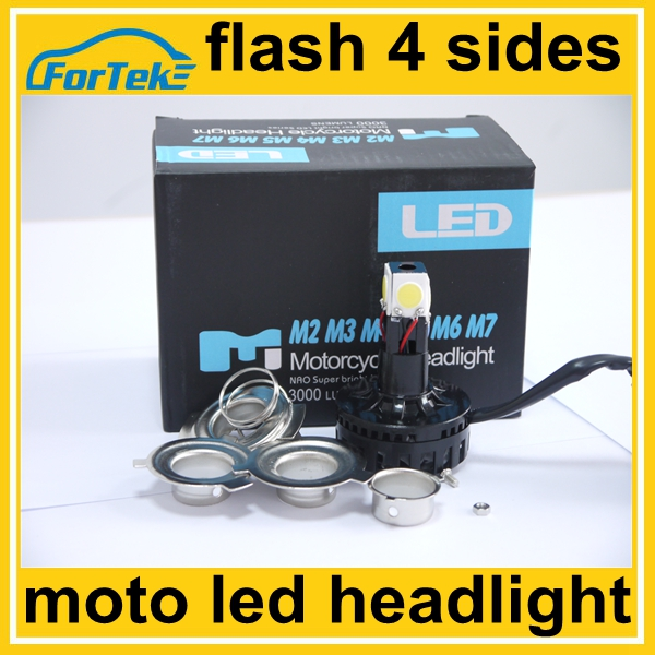 360 angle beam super bright motorcycle headlight led with flash light h4 hi/lo