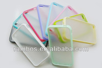 Dual Colored TPU Bumper Frame Protector Matte Case Clear Back Case for iPhone 4S 4