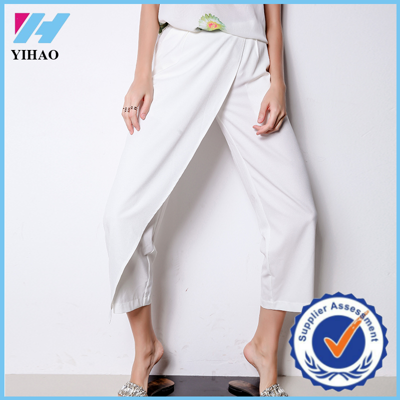 Yihao Loose fit Regular Waist White Solid Colar Cropped Wide Leg Pant Street Shots Fashion loose pants for women