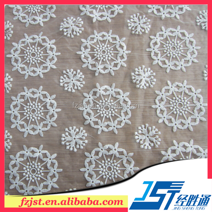 White embroidery organza tulle lace fabric for garment