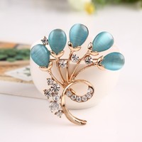 BH239 Luxury Opal Flower Brooch Pins With Gold Plated Full Shining Rhinestone Wedding Gift Brooches For Women Dress Accessories