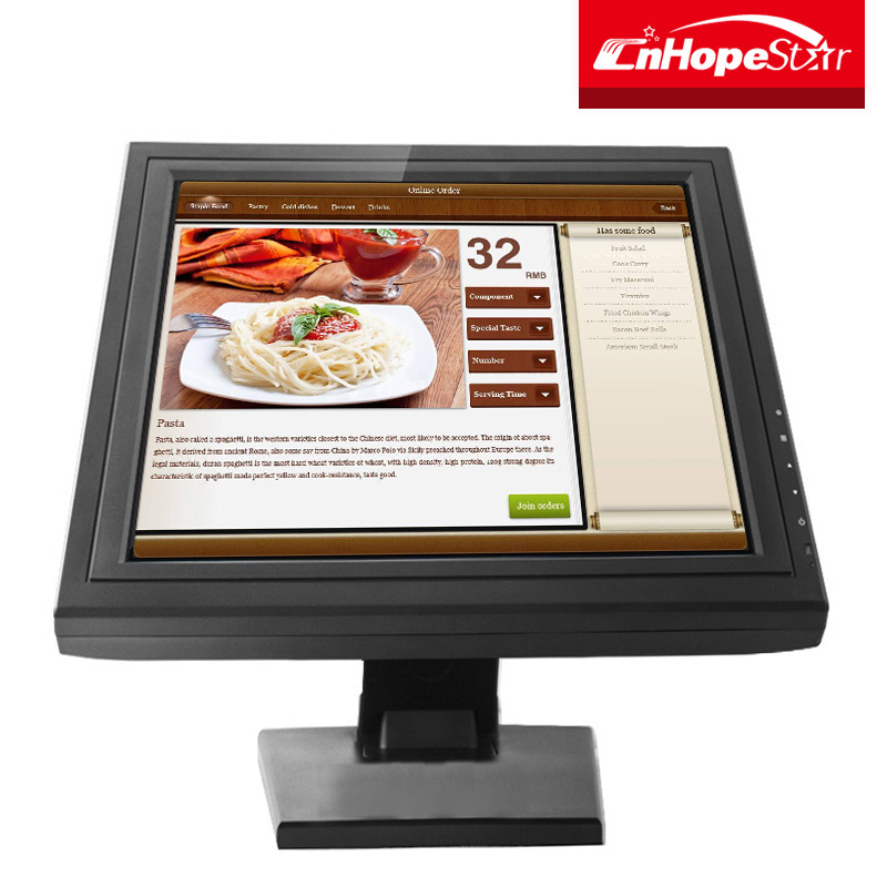 Cafe / fast food / hotel use 15 inch touch screen monitor for pos