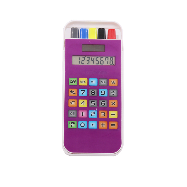 Custom 8 Digits Touch Screen Keys Calculator Pen Holder with Calculator