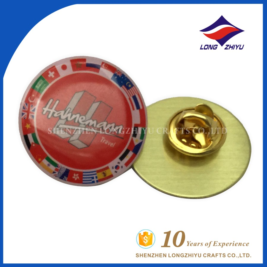 Promotional cheap printing and epoxy countries pin badge gift for travel agency