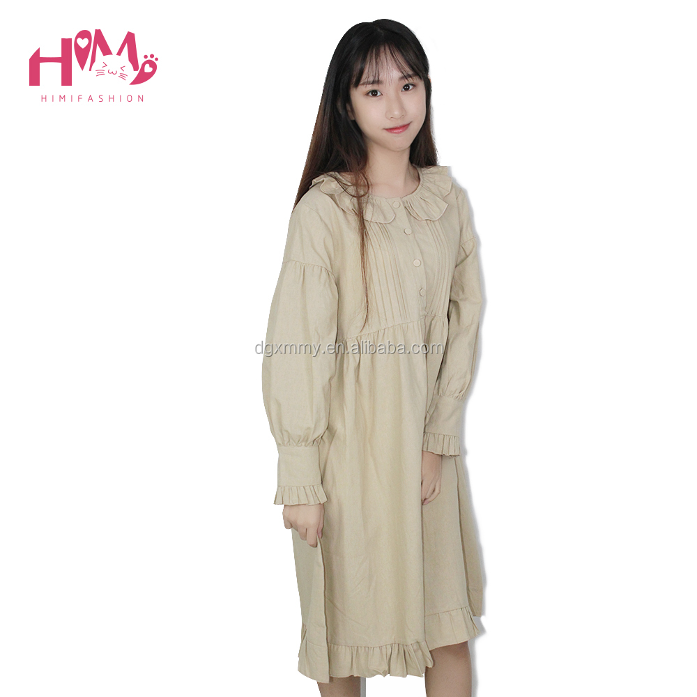 Long Sleeve Ruffled Women Vintage Dress Young Girl Doll Collar Beige Autumn Cotton Princess Dress For Ladies Loose Vestidos